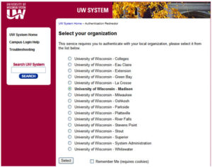 Logon screen allow access to the tool for all UW System campuses.