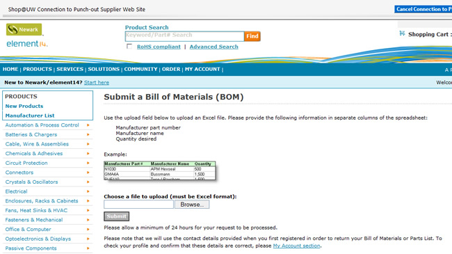 Submit a Bill of Materials (BOM) web page screen shot.